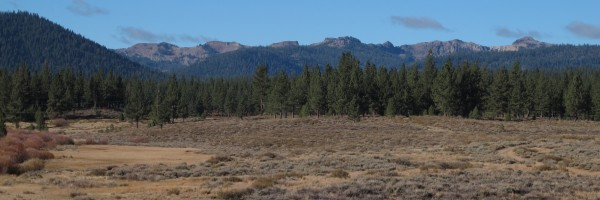 Panoramic view of the Sierra Crest from the Martis Valley Trail