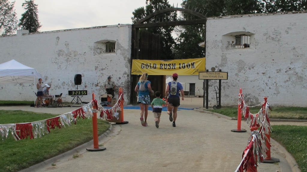 Crossing the finish line at Sutter's Fort with Betsy and Alex