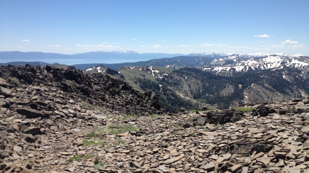View of Lake Tahoe and Desolation Wilderness from the summit of Tinker Knob at 8949 feet (June 2013)