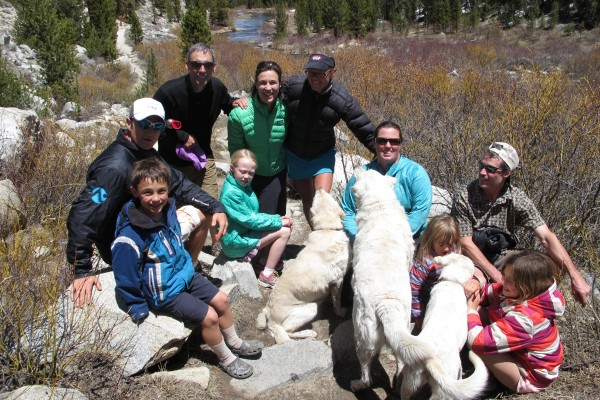 Runners and our families taking a recovery hike after Bishop High Sierra.