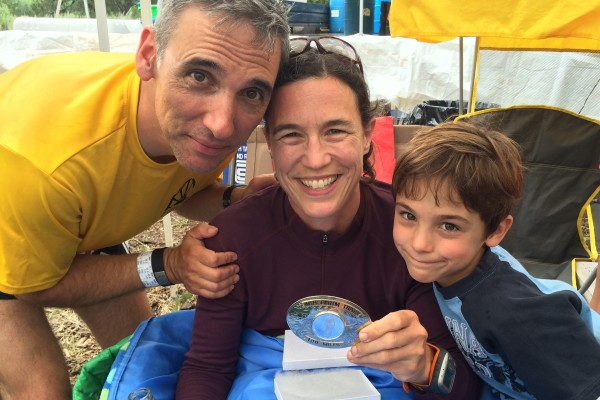 With my boys & my buckle at the finish. Photo by Julie Nye.