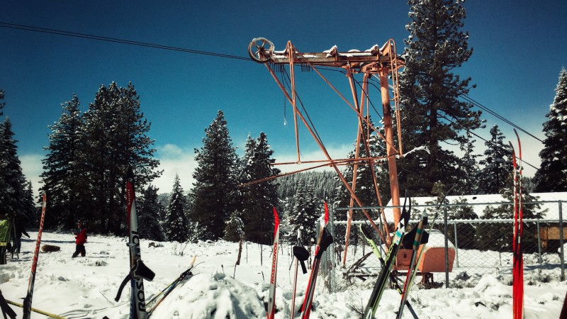 Remains of the Poma lift at Cottonwood's historic ski hill.